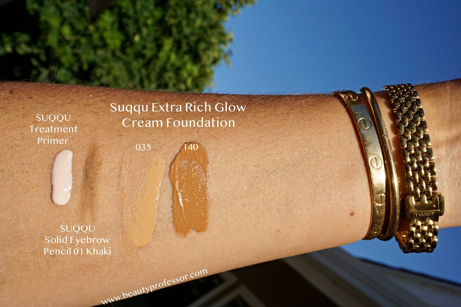 suqqu extra rich glow cream foundation 035  swatches