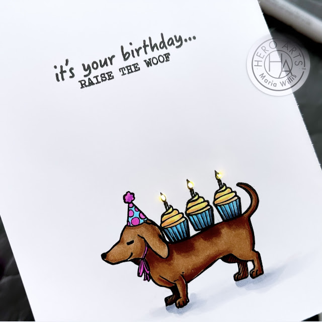 Cardbomb, Maria Willis, Hero Arts,Pear Blossom Press, cards, cardmaking, handmade, stamps, stamping, ink, paper, paper craft, happy birthday, dogs, cupcakes,light-up card, art, color, diy,copic markers,