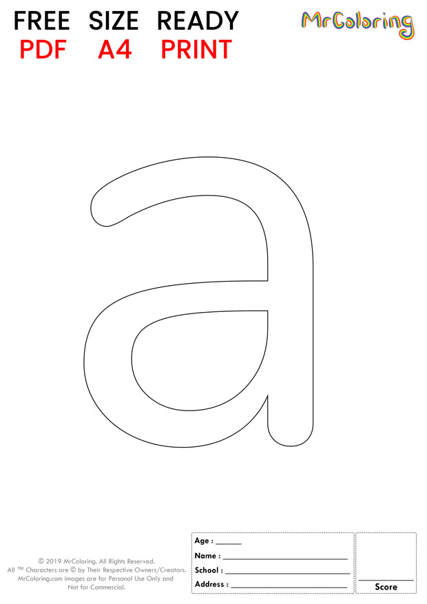 Alphabet letter a coloring pages lowercase round for kids