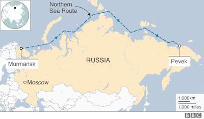 Akademik Lomonosov sea route in Russia