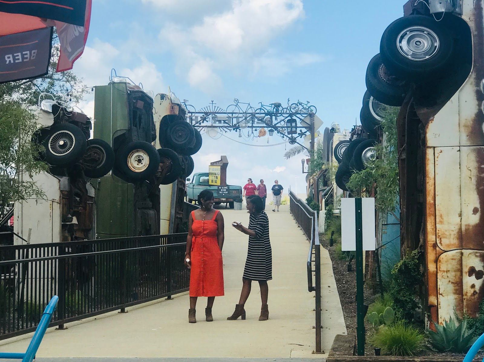 Image: Tangie Bell daughters at the truck yard in the colony