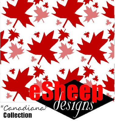 Canadiana Maple Leaf on White fabric by eSheep Designs