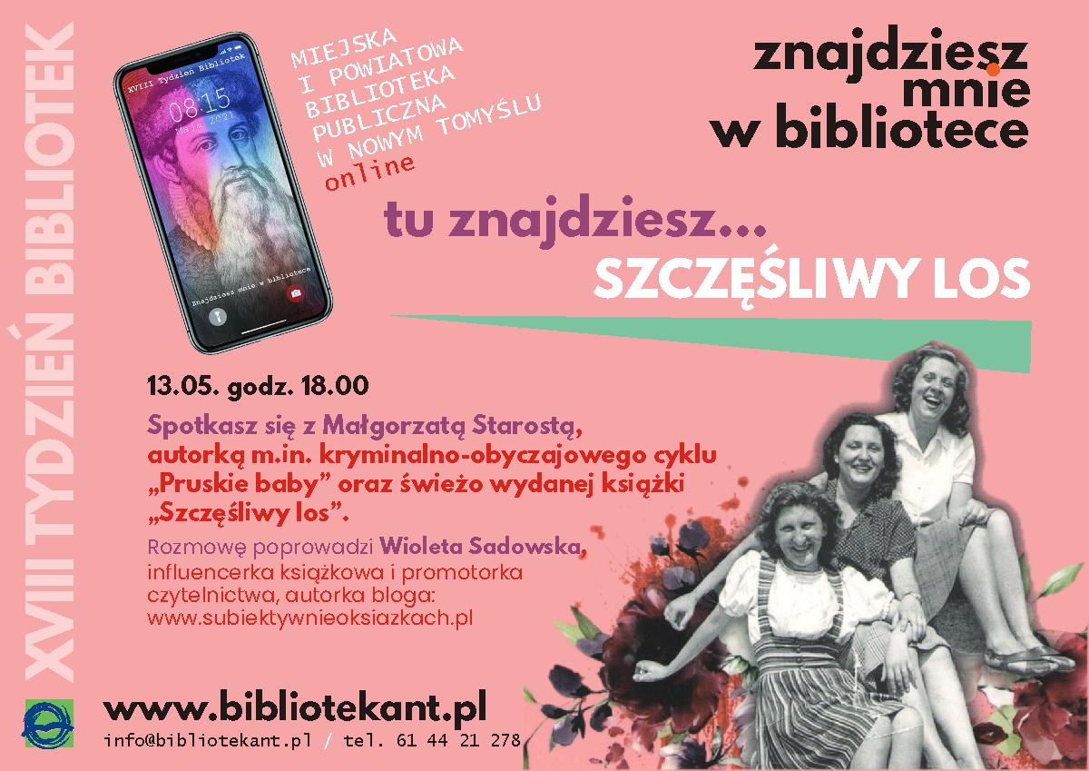 Zapraszam na spotkanie autorskie online z Małgorzatą Starostą