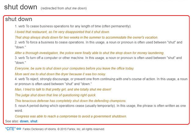 Arti Shut Me Down Menurut Kamus Free Dictionary