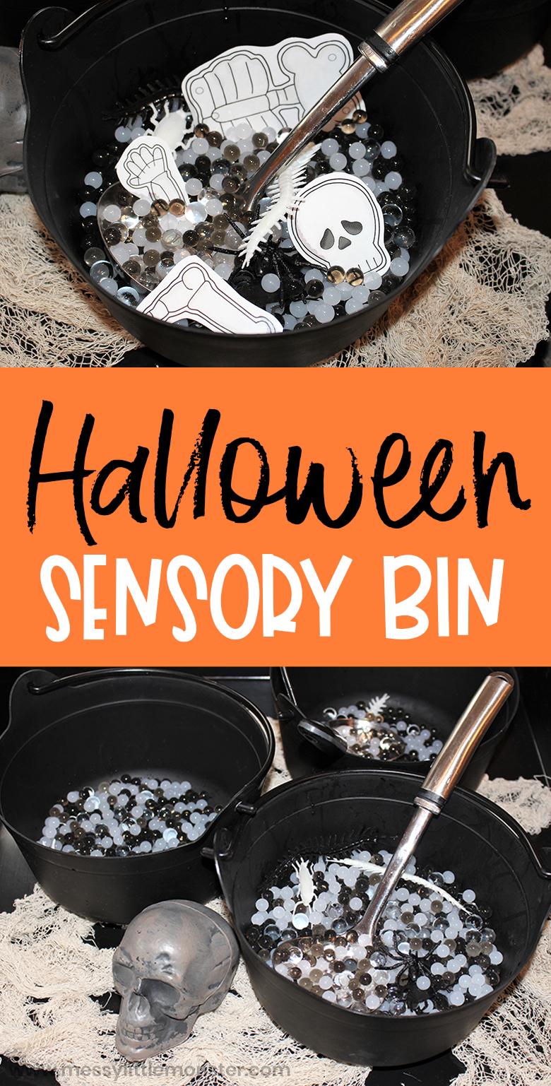 Halloween sensory bin for toddlers and preschoolers. Sensory play ideas.