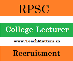 image: RPSC College Lecturer Recruitment 2021 @ TeachMatters