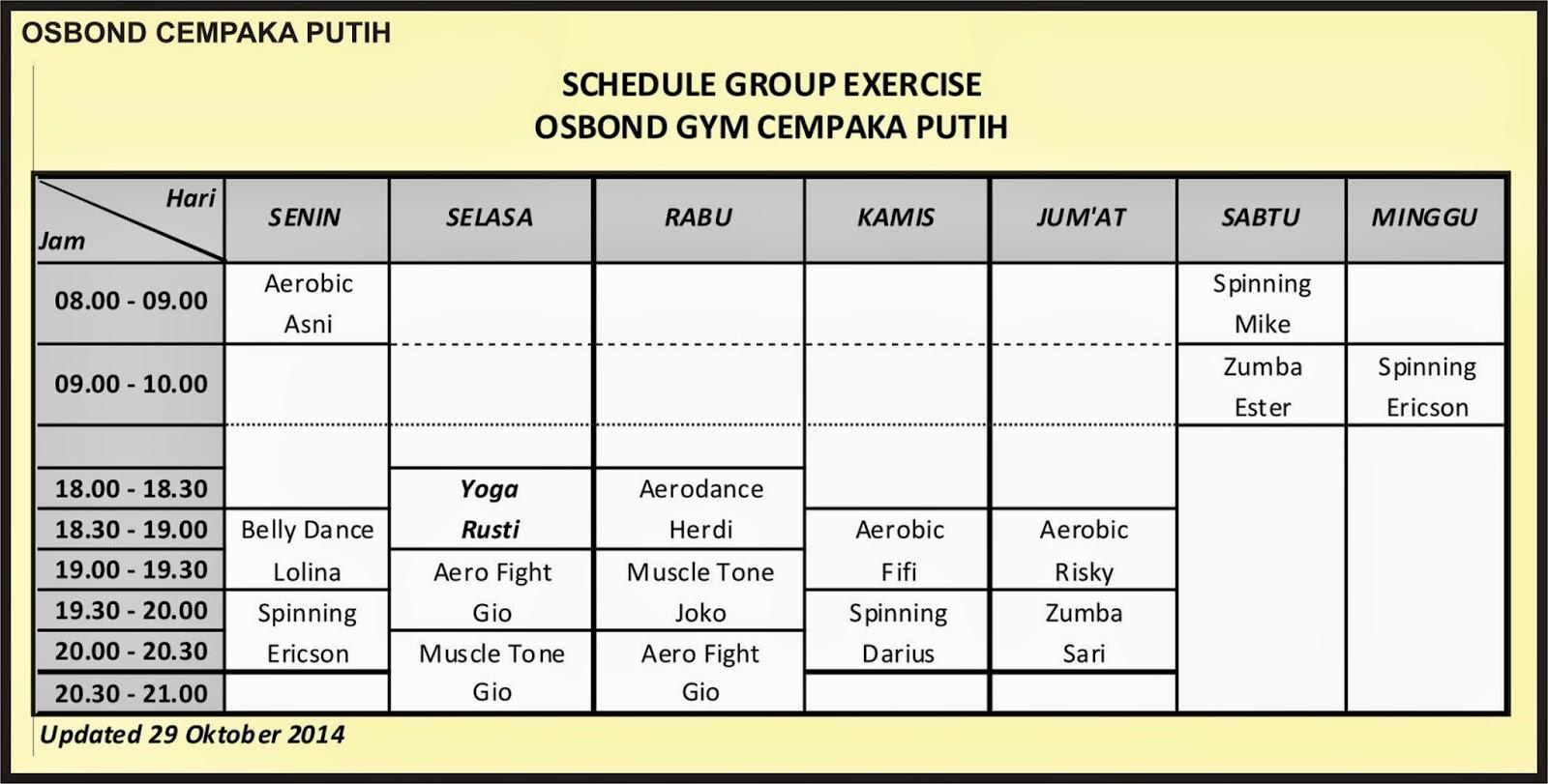 MEGA GYM INDONESIA: Schedule Exercise Group Mega GYM OSBOND