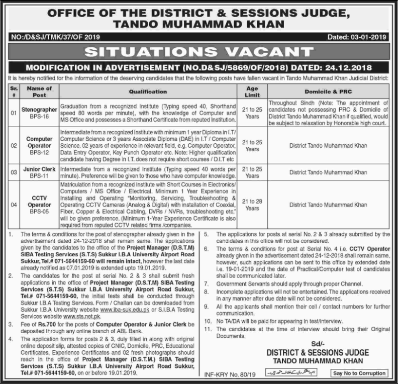 Advertisement for District & Session Judge Office Jobs