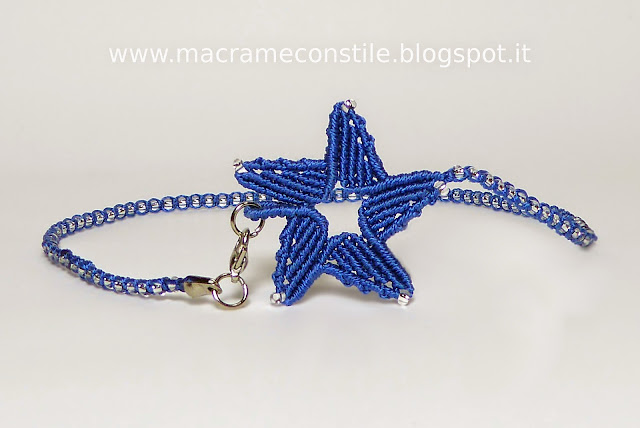 MACRAME MARGARETENSPITZE stella blu collana