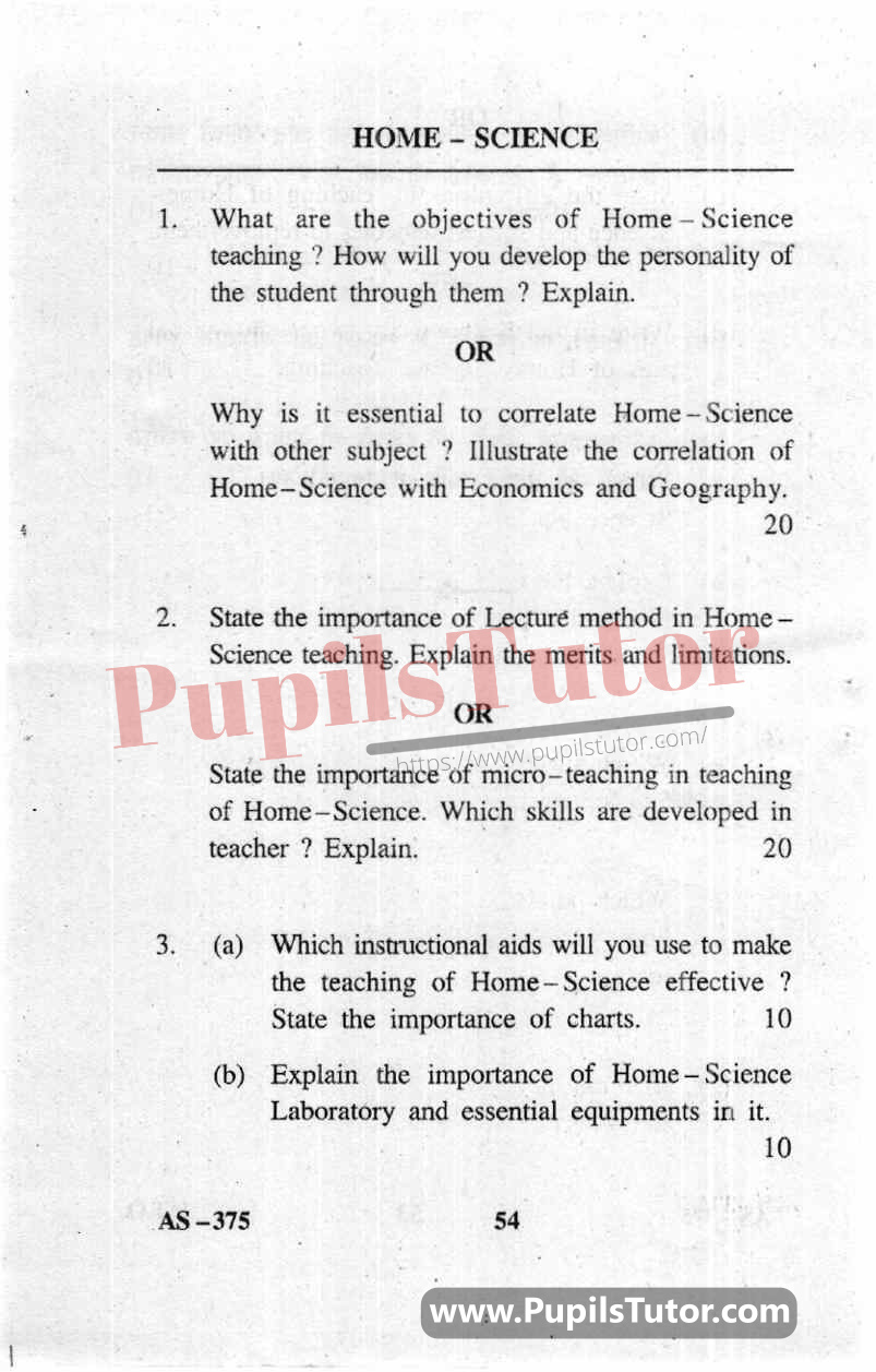 Pedagogy Of Home Science Question Paper In English