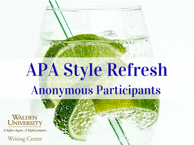 APA Style Refresh: Anonymous Participants