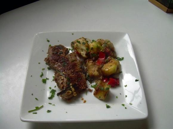 Bifes A La Mostaza Con Vegetales