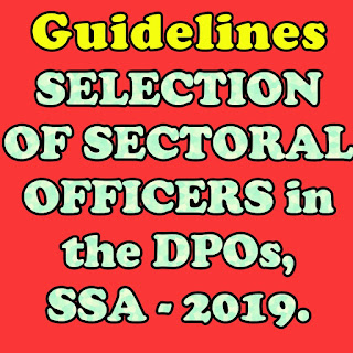 SARVA SHIKSHA ABHIYAN, ANDHRA PRADESH, AMARAVATI  Guidelines for SELECTION OF SECTORAL OFFICERS in the District Project Offices, SSA during the year - 2019.  Last date to apply 20.08.2019.    Application in the prescribed format are invited for the post of Sectoral Officers on  Deputation under Foreign Service Terms and Conditions at District Project Offices,  Sarva Shiksha Abhiyan.  2. Gazetted teachers of School Education Department of Andhra Pradesh are eligible to  apply. Applications should be submitted in the respective District Project Offices, Sarva  Shisha Abhiyan in which the Gazetted teacher is working.  3. Candidates should apply through proper channel only.  4. Candidates should apply for more than one post in one application.  5. Age of the candidates shall be below 50 as on the notification issued.  6. No applicant can claim right for deputation to SSA based on this notification.  7. The antecedents of the individual, previous experiences, track record, etc will also taken  into consideration for deputation.  8. The state Project Director may consider or reject the application.  9. The candidates who have worked in SSA on deputation for a period of five (05) years  continuously or in different spells are not eligible to apply for the post of Sectoral Officers  in SSA.  10. 85 marks weightage shall be given for Academic and Professional qualifications and oral  interview will be considered 15 marks for selection of Sectoral Officers.  11. The weightage shall be provided as shown in the following table