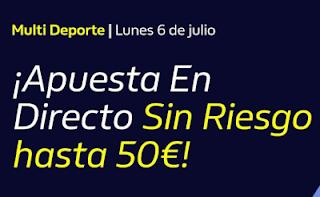 william hill Hasta 50€ Gratis apostando En Directo 6-7-2020