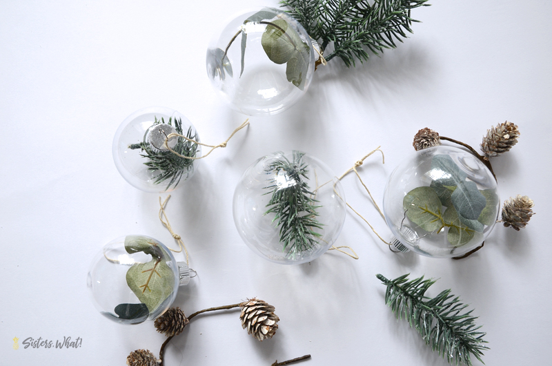 DIY Greenery filled Christmas Ornaments