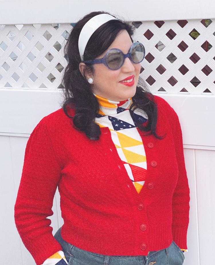 A Vintage Nerd, Retro Fashion Blog, 1970's Vintage, Retrolicious Red Cardigan, Modcloth Jean Skirt, Plus Size Retro Fashion