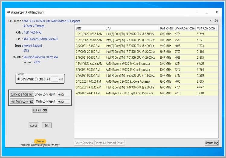 Wagnardsoft CPU Benchmark :  Δωρεάν εφαρμογή για τη συγκριτική αξιολόγηση και τη σύγκριση των CPU