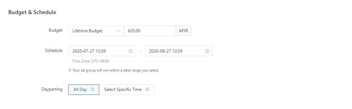 TikTok ads: Set Budget & Schedule