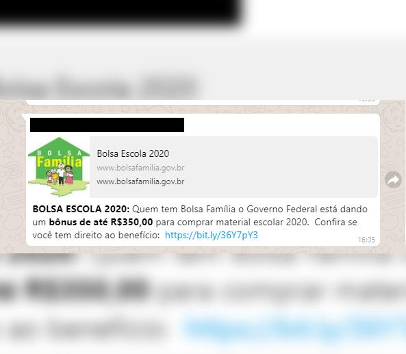 BOLSA ESCOLA: Governo desmente boato sobre bônus de R$ 350 para material escolar.