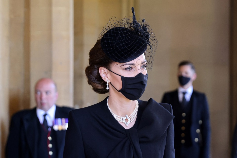 Kate Middleton wears the queen's necklace at Prince Philip's funeral