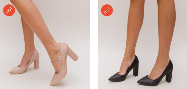 Pantofi moderni eleganti si comozi cu tocul gros din glitter aurii, negri