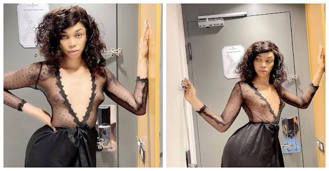 Cross-dresser, Jay Boogie flaunts his growing b*obs as he talks about misogyny