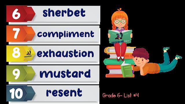 grade 6 spelling list number 4