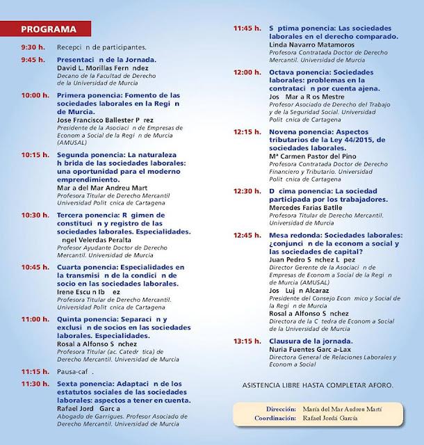 Jornada: Nuevo Régimen Jurídico de las sociedades laborales.