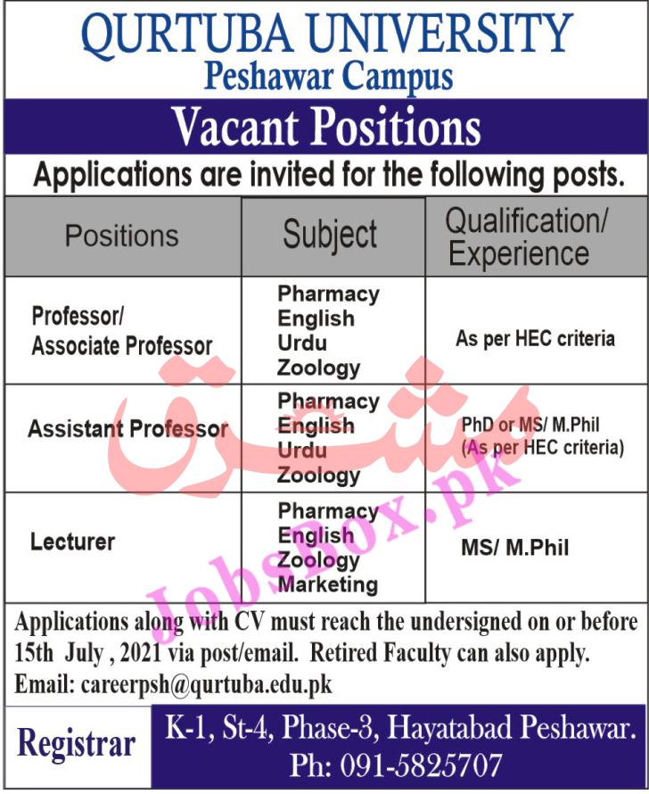 careerpsh@qurtuba.edu.pk - Qurtuba University Jobs 2021 in Pakistan