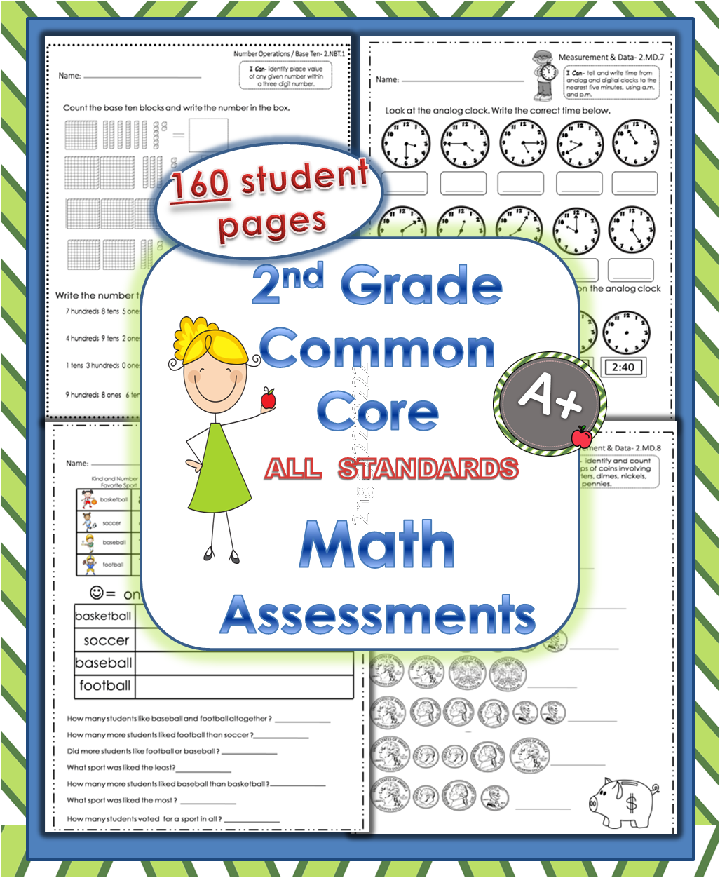 Teaching Times 2 2nd Grade Common Core Math Assessments
