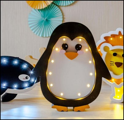 Penguin lamp Night light Kids lamp Baby room  Penguin Baby Room Decor
