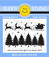 Sunny Studio Stamps: Here Comes Santa Santa's reindeer & sleigh silhouette 2x3 Clear Photopolymer Stamp Set