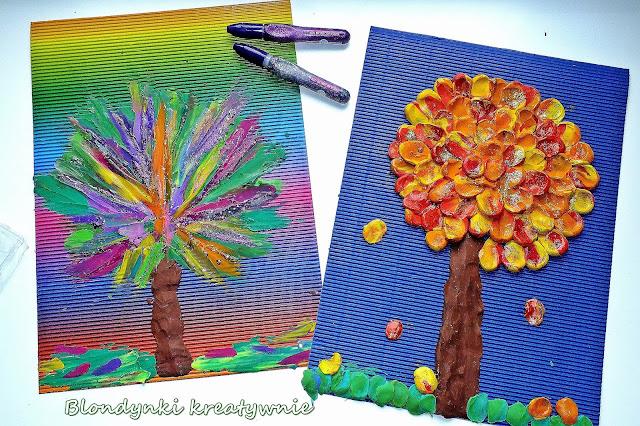 Jesienne drzewa wyklejane pasteliną