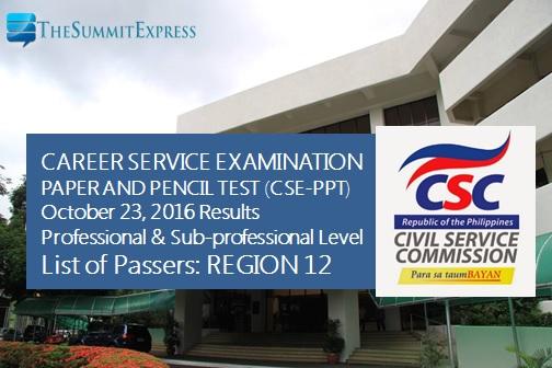 October 2016 Civil Service exam results, passers list (Region 12)