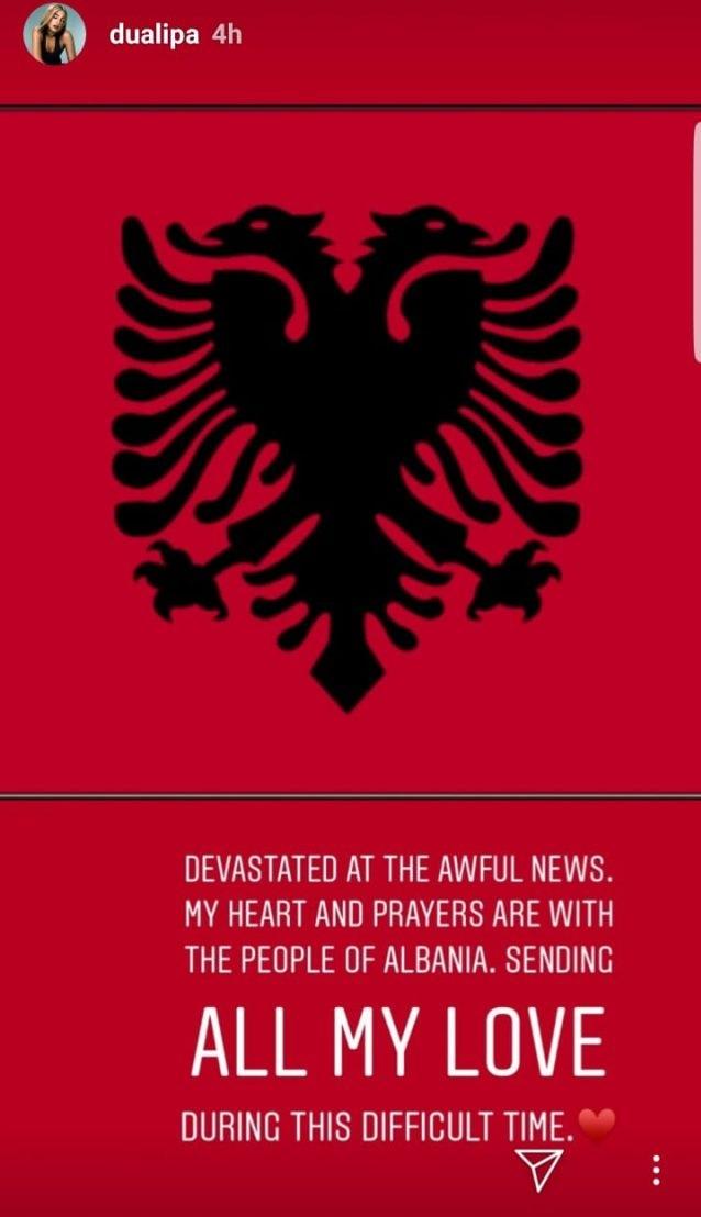 Rita Ora and Dua Lipa consolatory messages to Albania after the devastating earthquake