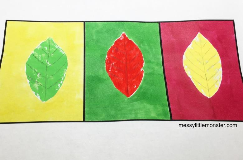leaf art project - pop art for kids
