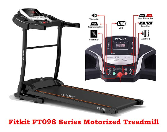 Fitkit FT098 Series 1.5 HP (2 HP peak) Motorized Treadmill