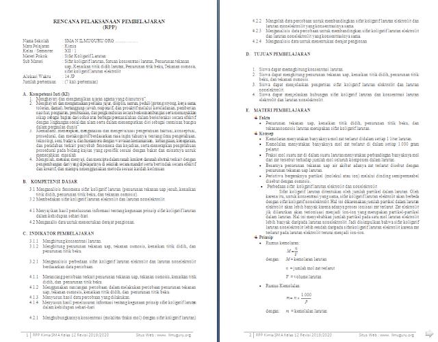 RPP 1 Lembar Kimia Kelas 12 SMA/MA Semester 1