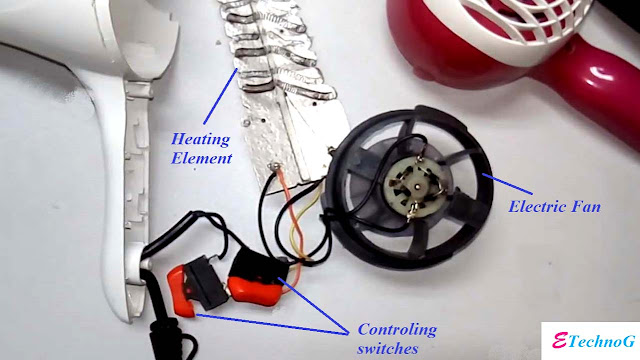 How a Hair Dryer Works, Hair Dryer Circuit Diagram, Internal circuit diagram of hair dryer,Hair dryer circuit diagram