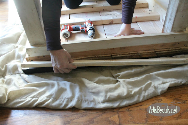 taking the apron off the old farmhouse table to replace legs diy build it yourself
