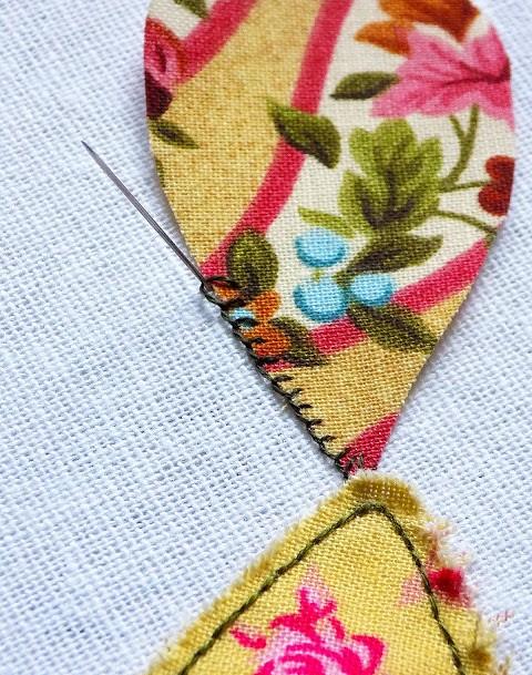 Thêu đắp vải bằng mũi thêu buttonhole Stitch