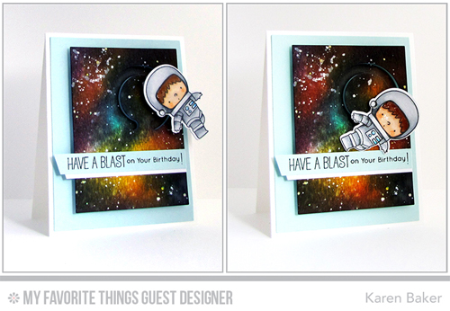Handmade card from Karen Baker featuring products from My Favorite Things #mfstamps