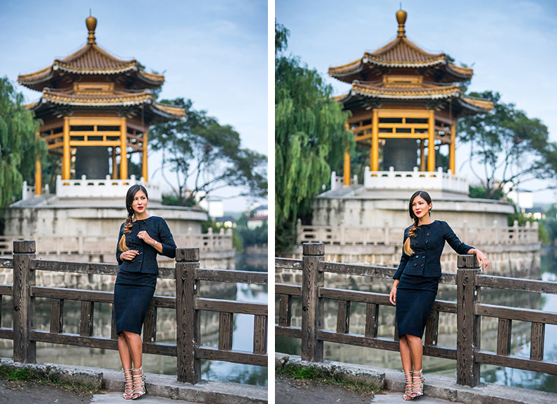 Euriental | fashion & luxury travel | all black Jackie O style two piece in Shanghai, Qi Bao