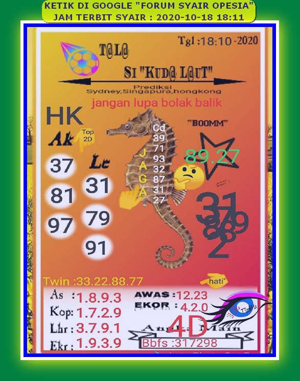 Kode syair Hongkong Minggu 18 Oktober 2020 63