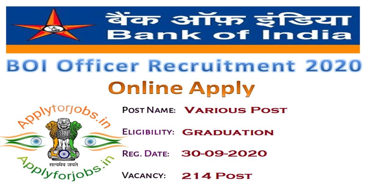 BOI Officer Recruitment 2020 Notification
