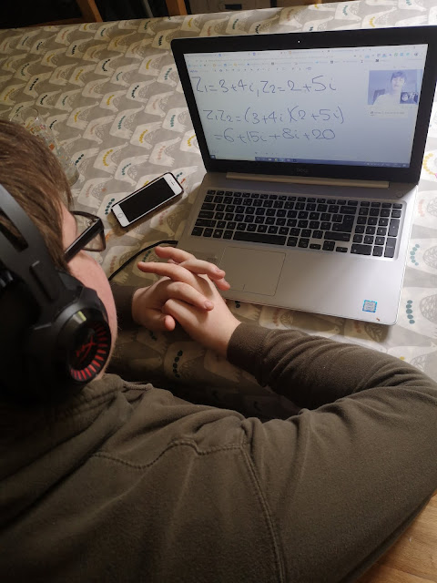 16 year old boy doing online tutoring session