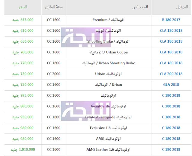 أسعار سيارات مرسيدس 2018 في مصر