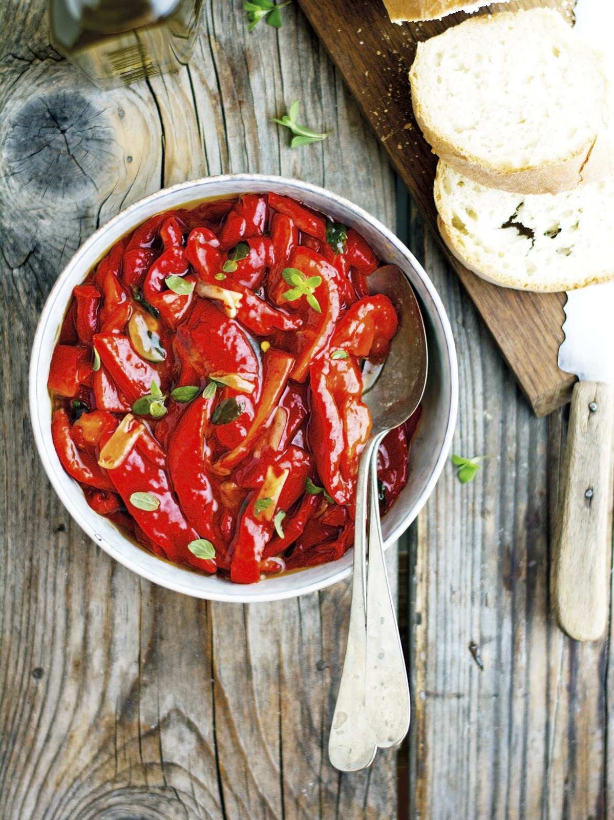 Marinated Red Peppers with Garlic and Oregano