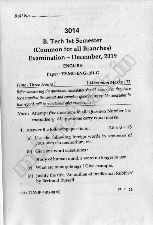 Download English - Question Paper - B.Tech. 1st Year - December 2019 for free