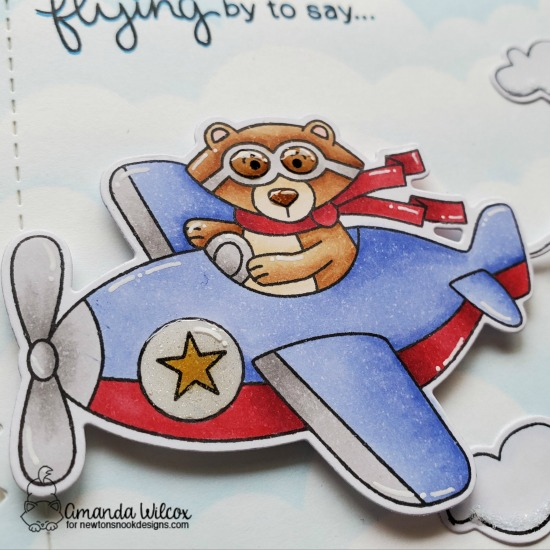 Flying By Birthday Card by Amanda Wilcox | Winston Takes Flight Stamp Set, Frames & Flags Die Set and Clouds Stencil by Newton's Nook Designs #newtonsnook #handmade